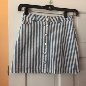 Stripe Button Up Mini Skirt